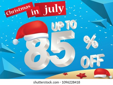 Christmas Biggest Sale in July, poster, or banner template, with santa hat and 3d 85 percent discount offers.