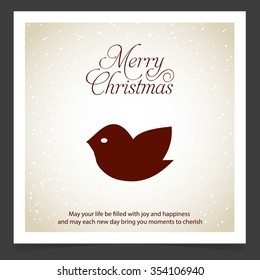 Christmas Bird Card Design. Creative Christmas typography vintage Vector background