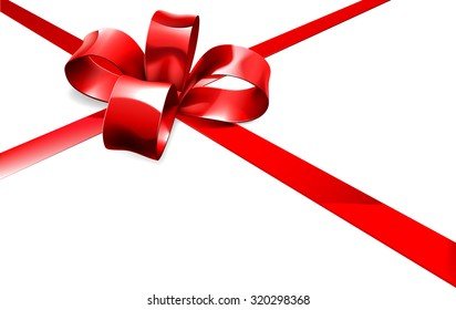 Christmas, birthday or other gift red ribbon and bow wrapping background