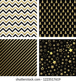 Christmas black and gold seamless patterns. Vector set of Christmas backgrounds