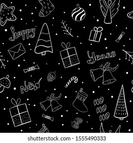 Christmas black seamless pattern with gingerbread stars and lollipop,  box, candy, angel, Christmas ball, sock, cookie, bell, fungus, Christmas tree, tree twig