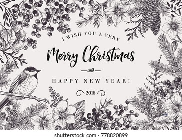 Christmas black and white background with bird and winter plants. Vector frame. Botanical illustration.