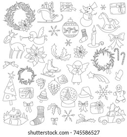 Christmas black and white elements set with gift box xmas tree, deer, snowman, gingerbread cookie, candle, bell, poinsettia flower, sleigh, wreath and other. Elements can be used for advent calendar