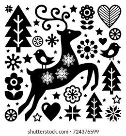 Christmas black and white folk vector pattern, Scandinavian folk art, reindeer, birds and flowers decoration or greeting card