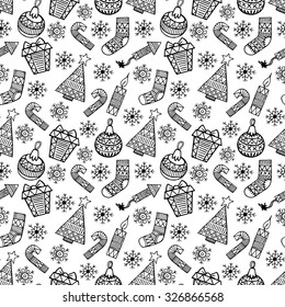 Christmas black and white sketch vector seamless pattern.  Christmas background.