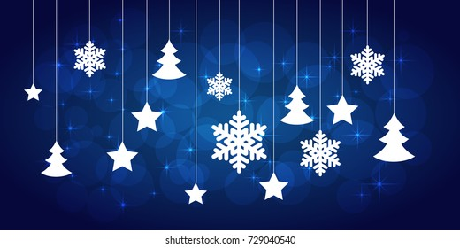 christmas blue background with paper snowflakes and christmas trees. vector illustration
