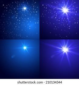 Christmas blue background set