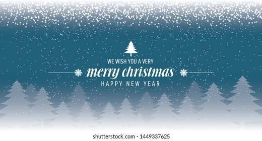 Christmas blue background with Christmas tree, vector illustration.