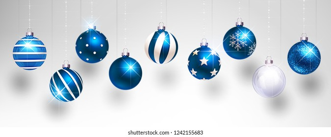 Christmas Blue Balls on Light Background. Vector illustration
