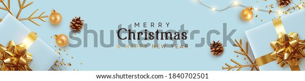 Christmas blue banner. Background Xmas design of realistic blue gifts box, golden 3d render snowflake and glitter gold confetti, bauble ball. Horizontal poster, greeting card, headers for website
