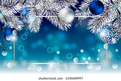 Christmas blue banner with fir branches and balls. Vector Christmas design for greeting card, party invitation, holiday sales.