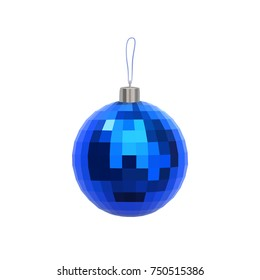 Christmas blue faceted ball isolated on white background. New Year's decorations. Realistic vector illustration