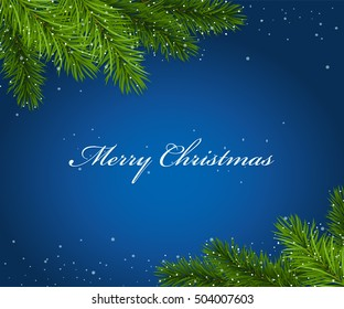 Christmas blue framework with fir tree branches