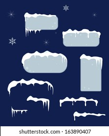 Christmas blue sale stickers and tags with icicles, stars and snowflakes on a dark blue vector background.Snow top.
