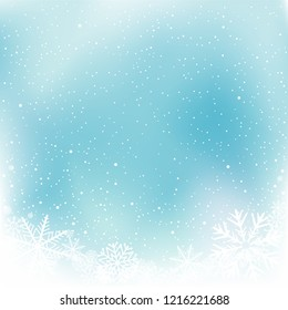 Christmas blue snow winter template. Sky snowy frame background. Frosty close-up wintry snowflakes. Ice shape pattern. New Year holiday decoration backdrop