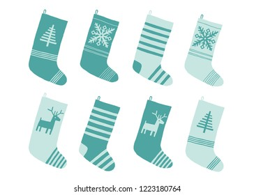 Christmas blue stockings. Stylized winter socks. Set of decorative Christmas stockings with ornaments. Merry Christmas. Cartoon New Year vector illustration isolated on white in a flat style