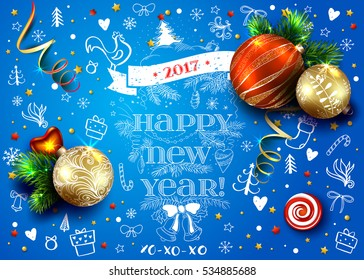 Christmas blue vector card with realistic fir tree, balls, decorations and hand drawn elements.  2017 year of rooster. 3D. Bright winter baclground. Typography inscriptions.