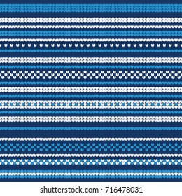 Christmas Blue and White Knitted Seamless Pattern - Great for Christmas and Winter Projects, Wrapping Paper, Backgrounds, Wallpapers.