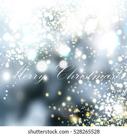 Christmas blurred background with lights Snowfall illustration