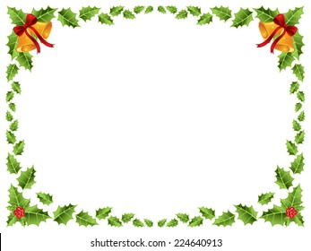 christmas border with bells and holly leaves