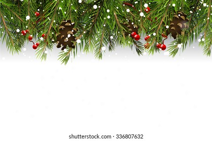 Christmas border with branches,pinecones and berries on white background