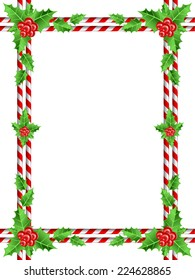 christmas border with candy cane and holly leaves