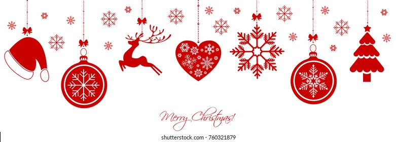 Christmas border with christmas decorations and elements