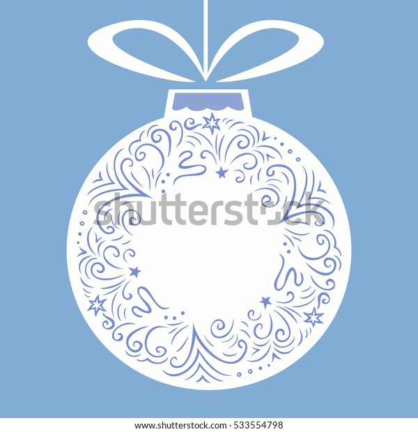 Christmas border. Doodle style line drawing round frame. Hanging ball with bow. Copy space. Vector illustration.