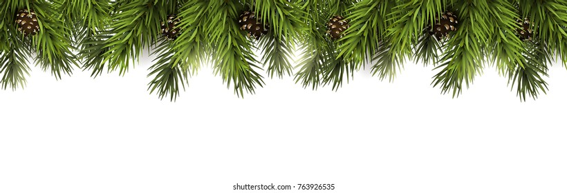 Christmas border with fir branches and pine cones on white background
