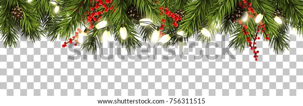 Christmas border with fir branches, pine cones, berries and lights