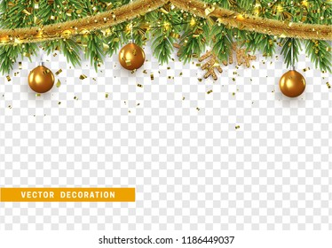 Christmas border with fir branches, string lights garland and gold tinsel, golden balls. Xmas holiday vector illustration. Isolated on transparent background.
