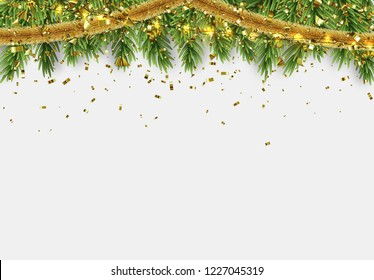 Christmas border with fir branches, string lights garland and gold tinsel. Xmas holiday vector illustration.