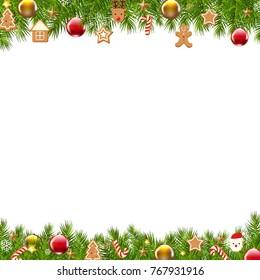 Christmas Border Fir Tree With Gradient Mesh, Vector Illustration