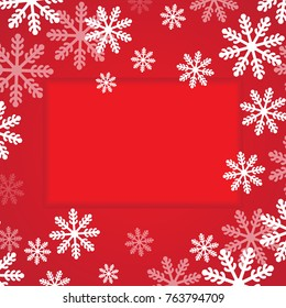 Christmas Border Frame Banner Background With Snowflake. Vector