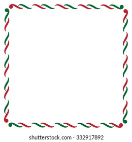 Christmas border in green and red