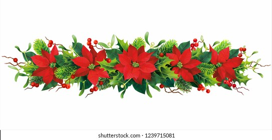Christmas border with holly and red poinsettia isolated on white. Vector illustration.