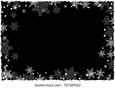 Christmas border of snowflakes and stars on a black background