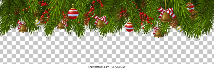 Christmas border template with fir branches, pine cones, decorations and bells. Isolated vector illustration