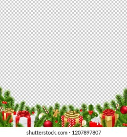 Christmas Border Transparent Background With Gradient Mesh, Vector Illustration