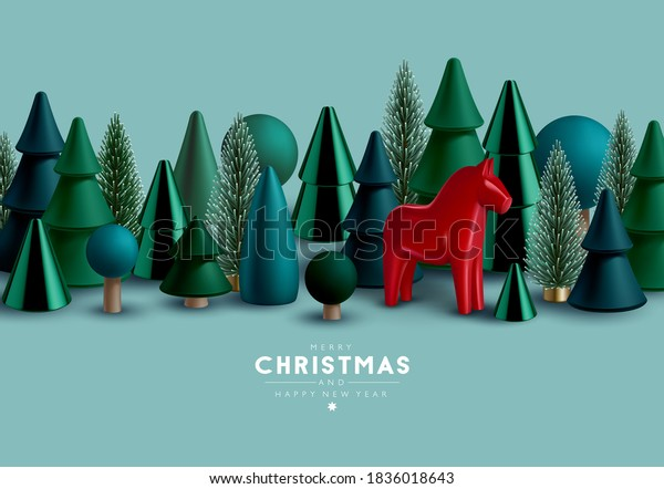 Christmas border with Christmas trees and traditional Scandinavian toy  horse.