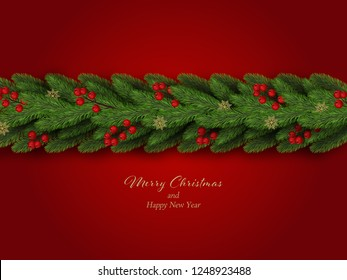 Christmas border. Winter holiday background with decorative border of realistic christmas tree branches with red berries and snowflakes. Vector illustration