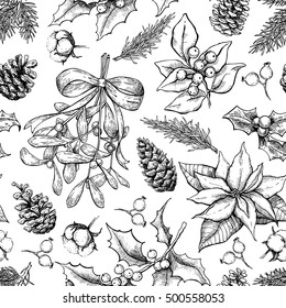 Christmas botanical seamless pattern. Hand drawn vector background. Xmas plants. Holiday engraved decorations. Holly, mistletoe, poinsettia, fir tree, pine cone, cotton,berry. Holiday decor, wallpaper