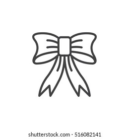 Christmas Bow line icon, outline vector sign, linear pictogram isolated on white. logo illustration
