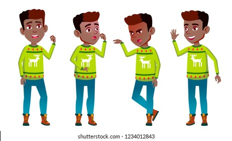 Christmas Boy Schoolboy Kid Poses Set Vector. Primary School Child. Cheerful Pupil. Emotional. For Banner, Flyer, Web Design. Isolated Cartoon Illustration