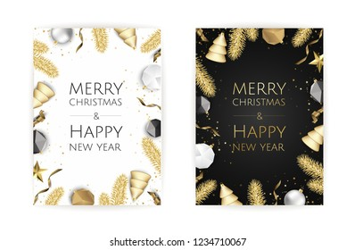 Christmas bright background with golden Xmas decorations. Merry christmas greeting card.