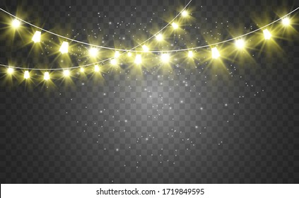Christmas bright, beautiful lights, design elements. Glowing lights for design of Xmas greeting cards. Garlands, light Christmas decorations.