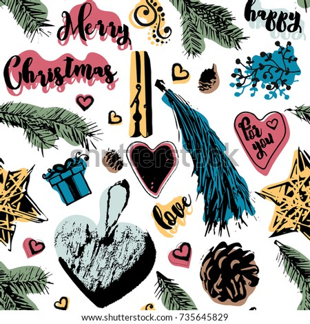 christmas bright seamless pattern new year attributes and decorations can be used for postcards