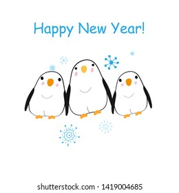 Christmas bright vector card with funny penguins on white background with snowflakes