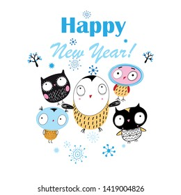 Christmas bright vector card with funny owls on white background with snowflakes
