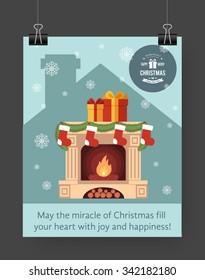 Christmas brochure template. Flat flyer design Xmas fireplace,presents, Christmas logo. Vector illustration.
